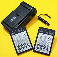 2x 3000mAh Battery Wall Charger Stylus For LG Optimus Dynamic II L39C Smartphone