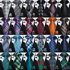 Formal Mens Necktie Plaids & Checks Tie Set For Men Jacquard Woven Wedding Ties