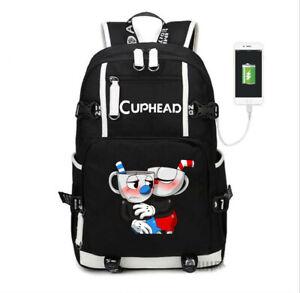 Cuphead Mugman USB Charge Backpack Shoulder bag travel School Bag Laptop bagpack