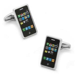 iPhone Mobile Phone Brushed Silver Cufflinks