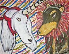 Vintage Style Saluki Lion Unicorn Dog 4x6 Art Print Signed Folk Art Halloween