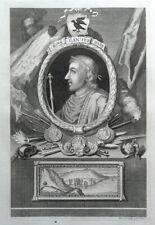 KING CANUTE, CNUT, Rapin/Tindal original antique portrait print 1745