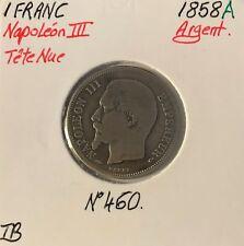 1 FRANC NAPOLEON III - 1858A - Pièce de monnaie en Argent - TB