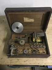 Antique Lorch Schmidt Watchmakers tools and Lathe attachments in original box.