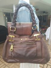 Fossil 54 Hannah Large Brown Leather Slouch Purse & Vintage Reissue Wallet