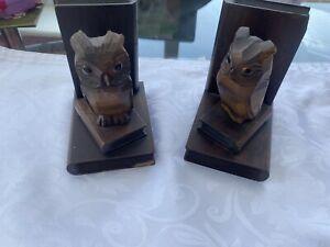 Vintage Dark Wood Owl Bookends X 2