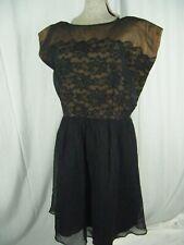 Carol Brent Vtg 50-60s Black Chiffon Lace Illusion Cap Sleeve Dress-Bust 43/M-L