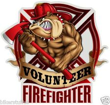 VOLUNTEER FIREFIGHTER BUMPER STICKER CAR STICKER BULLDOG