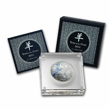 2015 Niue Year of the Goat 1 oz 99.9 Silver Proof Coloured Coin