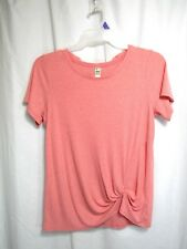 Green Tea Top Sz L Pink Pull Over Round Neck Short Sleeve Knot Casual Career