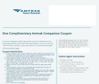 Amtrak Companion Coupon One-way ( buy one get one free ), expires 08/07/2022