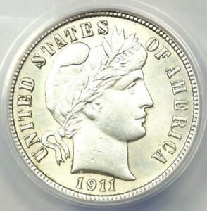 1911-S Barber Dime 10C Coin - Certified ANACS AU50 Detail - Rare Date Coin!