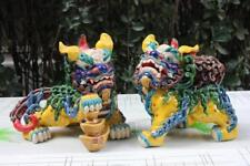 7 pottery porcelain FengShui Foo Fu Dog Guardion Lion unicorn  Beast Statue Pair