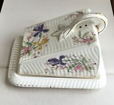 Old Paris China Cheese Dish + Lid - Fgc handle iris flowers gilt - 6.5in tall