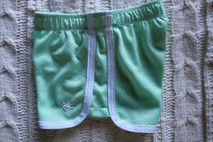 Little Girls Justice Light Green Athletic Fold Over Band Mesh Shorts Size 5