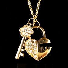 Fashion gold-plated fine key and lock crystal pendant charm necklace XL36