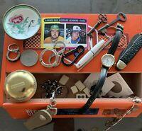JUNK DRAWER lot 11 Orange Cigar Box *  Knife  Plate Watch Skeleton Keys Fobs +