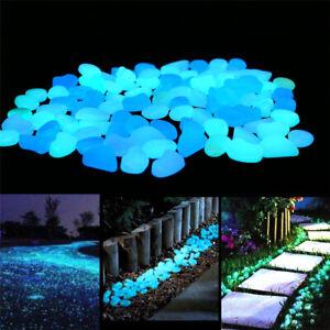 100 Stück Nachtleuchtend Leuchtkiesel leuchtende Kiesel Steine Garten Deko Weiß