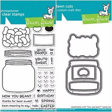 """Lawn Fawn """"HOW YOU BEAN?"""" Clear Photopolymer Stamps Set AND Matching Dies"""