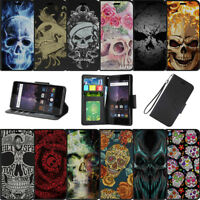 For Samsung Galaxy J3 Eclipse | J3 Mission (2017) Wallet Case Card Slots Skulls