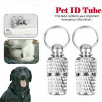 2Pcs Anti-Lost Pet Dog Cat Puppy ID Address Name Label Tag Barrel Collar Tube UK