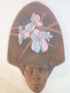 "TOM POTOCKI STUDIO WALL ART CERAMIC FACE SCULPTURE w/ FLOWERS - 18"" x 11.5"""