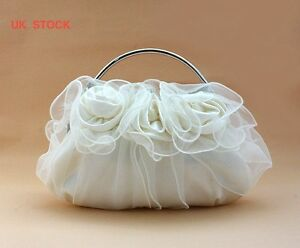 UK flower satin lace evening clutch wedding prom bridal bag purse wallet 8rrr