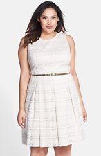 NWT $178 Eliza J Ivory  Belted Lace Fit & Flare Dress (Plus Size) 20W