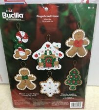 Bucilla Plaid Gingerbread House Felt 6 Ornaments Kit 85118 - Open, No Needle