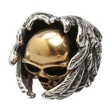 Jewelry Men's Ring Stainless Steel Gothic Wing Skull Gold + Silver 10 Size I5G1