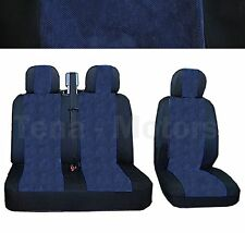 CITROEN JUMPER AUFGEREGT Bus Box Sitzbezüge 2+1 Kopfstütze Schwarz/Blau DE LUX