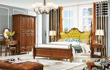 Bedroom Set Antique Style Founder Time Wood Wardrobe Bed Chesterfield 6 Pieces