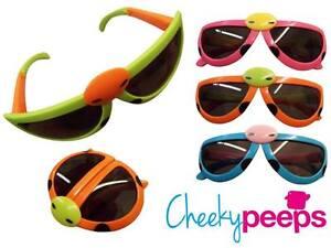 Kids/Childrens Ladybird Fold Up Boys and Girls Sunglasses Green/Pink/Orange 3-6y