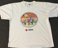 Vtg 90s American Red Cross Blood Donor Shirt XL 80s Christmas Donate Polo Sport