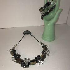 Punch Brand Chunky Oblong Stone Look Crystal Flower Necklace/ Bracelet Set NWT