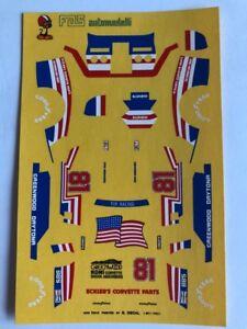 1/43 F1 DECALS CHEVROLET - CORVETTE N 81 GREENWOOD IMSA 1981 DECAL RARE