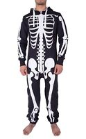New Mens Unisex Skelton  Skull Bones All In One Halloween Comfy Jumpsuit