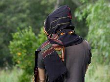 Hooded Scarf with Hood Light Cashmere Wool Black Handmade Hoodie Earthy Tribal P