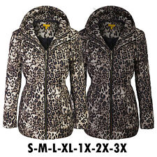 Women's Leopard Quilted Padding Jackets With Detachable Hoodie Coats SML1X2X3X