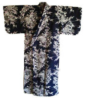 "Japanese Yukata Kimono Sash Belt Robe Women 58"" Cotton Navy Lily Made in Japan"
