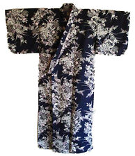 "Japanese Yukata Kimono Sash Belt Robe Women 58"" Cotton Navy Lily Made in Japan"