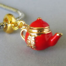 Red Double Happiness Asian Teapot European Bead For European Charm Bracelets