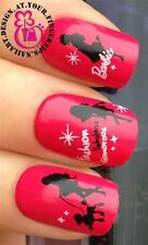 NAIL ART WATER TRANSFERS STICKERS DECALS SET BARBIE SILHOUETTE BLACK DOG #243