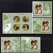 NIUE 1982 BIRTH OF PRINCE WILLIAM / XMAS ALL 4 SOUVENIR SHEETS & THE M/S MNH