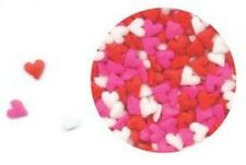 Edible Confetti Sprinkles Cupcake Valentine Red Pink White MINI HEARTS 8 oz.