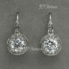 NEW DROP EARRINGS 9K GF 9CT WHITE GOLD SIMULATED DIAMOND SPARKLING