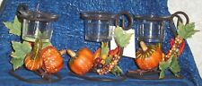 """Autumn Fall VOTIVE HOLDER Metal & Glass 4.5""""x4"""" Country Rustic Cabin Home Decor"""