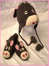 deLux DONKEY HAT & MITTENS SET knit ADULT animal shaped mule eeyore men women