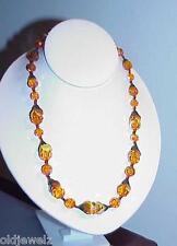 Vintage Art Deco Necklace Orange Amber Aurora Glass Bead Flower Metal Caps HP