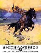 "TIN SIGN- ""Smith & Wesson Hostiles "" Cowboy on Horse  Western Metal Wall Art"